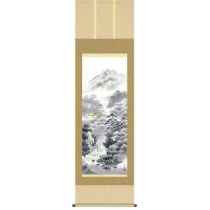 掛け軸 「幽山水明」 北山歩生作/山水画/景色/彩色/水墨/【送料無料】|e-kakejiku