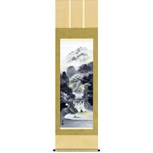 掛け軸 幽山蒼流 伊藤渓山作 水墨の掛軸 掛け軸 受注制作品|e-kakejiku
