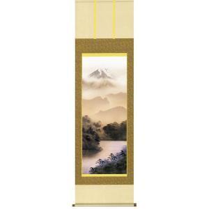 掛け軸 「富士閑景」 熊谷千風作(彩色山水 掛軸)|e-kakejiku