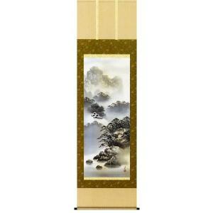 掛け軸 「紫山憧景」 伊藤渓山作(彩色山水 掛軸)|e-kakejiku