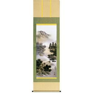 掛け軸 「閑雅悠景」 長江桂舟作(彩色山水 掛軸)|e-kakejiku
