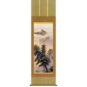 掛け軸 「富岳塔景」 江本修山作(彩色山水 掛軸)|e-kakejiku