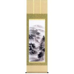 掛け軸 「悠景彩還」 長江桂舟作(彩色山水 掛軸)|e-kakejiku