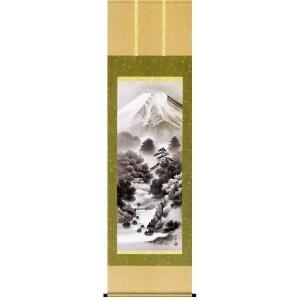 掛け軸 「富嶽情景」鈴村秀山作(彩色山水 掛軸)|e-kakejiku