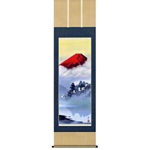 掛け軸 赤富士飛翔 鈴村秀山作 (お正月・結納・お祝い用の掛軸)|e-kakejiku