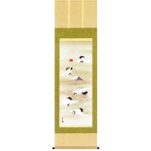 掛け軸 舞鶴 長江桂舟作 お祝いの慶祝画 受注制作品|e-kakejiku