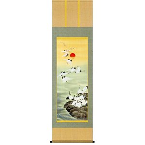 掛け軸 群鶴 長江桂舟作 お祝いの慶祝画 受注制作品|e-kakejiku