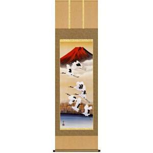 掛け軸 赤富士飛翔 瀬田功舟作 (お正月・結納・お祝い用の掛軸)|e-kakejiku
