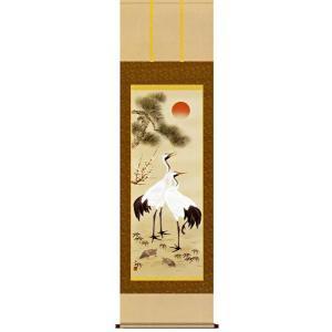 掛け軸 松竹梅鶴亀 小野洋舟作 (お正月・結納・お祝い用の掛軸)|e-kakejiku