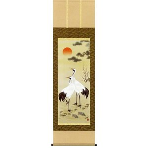 掛け軸 松竹梅鶴亀 小野洋舟作 花鳥の掛軸 受注制作品|e-kakejiku