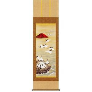 掛け軸 赤富士飛翔 長江桂舟作 花鳥の掛軸 受注制作品|e-kakejiku