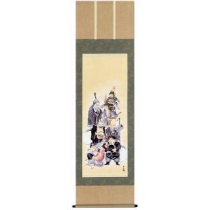 掛け軸 「七福神」 緒方葉水作 (慶事用の掛軸 掛け軸)|e-kakejiku