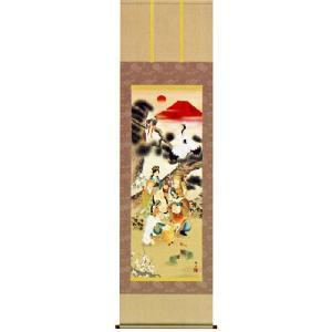 掛け軸 吉祥七福満願図 鵜飼雄平作 (モダン インテリア 掛軸) 受注制作品|e-kakejiku