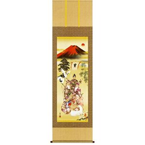 掛け軸 吉祥七福降臨図(尺五立・桐箱) 長江桂舟作 (モダン インテリア 掛軸)|e-kakejiku