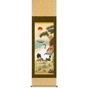 掛け軸 鶴亀三友福神図(尺五立・化粧箱) 遠山翠洋作 (モダン インテリア 掛軸)|e-kakejiku