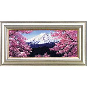 絵画 WF3号 富士山と桜 L.フランクリン作 油絵|e-kakejiku