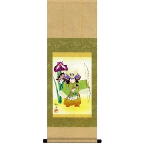 掛け軸 「縁起武者」美原如舟作 (小さい掛軸)|e-kakejiku