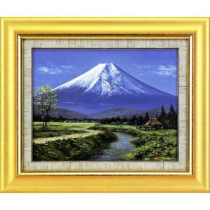 絵画 F6「忍野富士」山田紀義作(油絵)|e-kakejiku