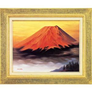 絵画 F6「赤富士」森田浩二作(油絵)|e-kakejiku