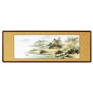 欄間額「彩色山水」安達樹海作 (欄間額・書・花鳥・山水)|e-kakejiku