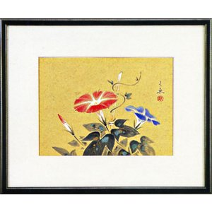 日本画 「朝顔」中谷文魚(水彩額・絵画)|e-kakejiku