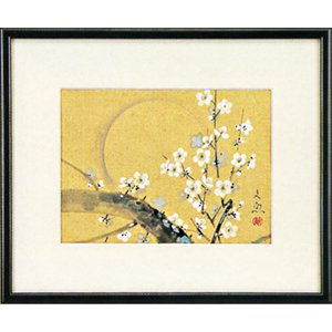 日本画 「寒月」中谷文魚(水彩額・絵画)|e-kakejiku