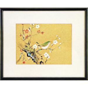 日本画 「梅に鶯」中谷文魚(水彩額・絵画)|e-kakejiku