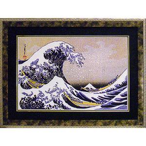 絵画 「冨獄三十六景神奈川沖浪裏」葛飾北斎 和風フレーム|e-kakejiku