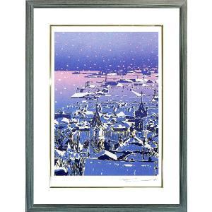 版画「雪の函館」本間 武男(シルクスクリーン・絵画)|e-kakejiku