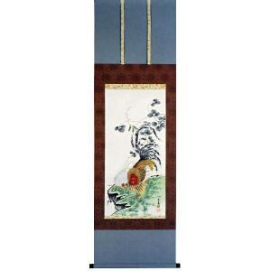 伊藤若冲筆「豆花双鶏図」木版画(掛け軸)|e-kakejiku