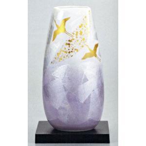 九谷焼 10号花瓶・銀彩飛翔(台付)/10号変型花瓶/床の間/和室|e-kakejiku