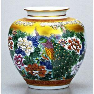 九谷焼 10号花瓶・牡丹孔雀/10号花瓶/床の間/和室|e-kakejiku