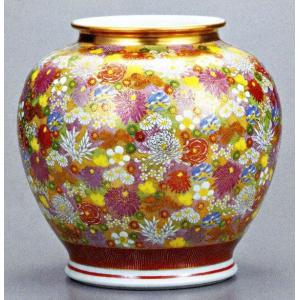 九谷焼 10.5号花瓶・金花詰/10号花瓶/床の間/和室|e-kakejiku