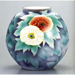 九谷焼 10号花瓶・紅白牡丹/10号花瓶/床の間/和室|e-kakejiku