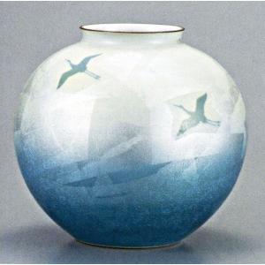 九谷焼 10号花瓶・銀彩双鶴/10号花瓶/床の間/和室|e-kakejiku