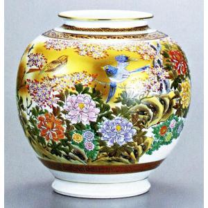 九谷焼 10号花瓶・本金花鳥 光崖/10号花瓶/床の間/和室|e-kakejiku