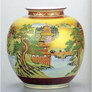 九谷焼 10号花瓶・本金山水 大雅/10号花瓶/床の間/和室|e-kakejiku