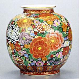 九谷焼 10号花瓶・本金花詰 大雅/10号花瓶/床の間/和室|e-kakejiku