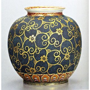 九谷焼 10号花瓶・本金青粒鉄仙 大雅/10号花瓶/床の間/和室|e-kakejiku