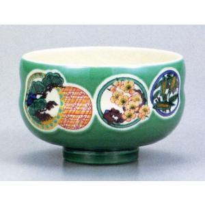 茶碗・茶道具・抹茶碗 九谷焼 グリーン松竹梅|e-kakejiku