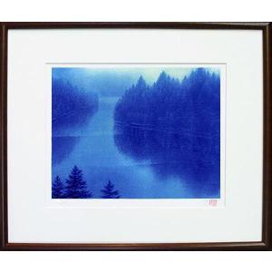 版画 「蒼き湖」ジクレー版画 神崎淳画伯(絵画)|e-kakejiku