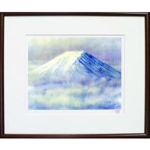 版画 「朝富士」ジクレー版画 神崎淳画伯(絵画)|e-kakejiku