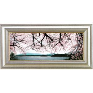 絵画 油絵「富士桜爛(川口湖)」川島未雷(かわしまみらい)画伯|e-kakejiku