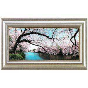 絵画 油絵「桜彩水静(井の頭)」川島未雷(かわしまみらい)画伯|e-kakejiku