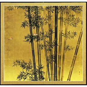 屏風「竹に雀」松田富一作 本間二曲屏風 受注制作品|e-kakejiku