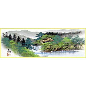 WSM色紙 「彩色山水」青柳大雲作|e-kakejiku