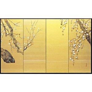 屏風「白梅に桜」鈴木光洋作 四尺四曲半双 受注制作品|e-kakejiku