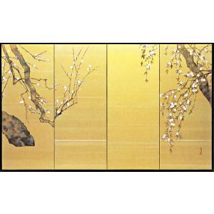 屏風 「白梅に桜」鈴木光洋 作|e-kakejiku
