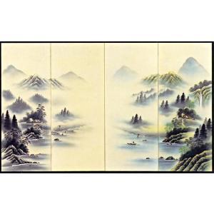屏風 「山水図」清水渓月 作|e-kakejiku