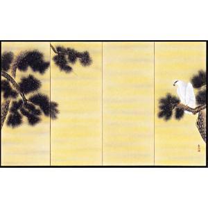 屏風「松に鷹」大津寿石作 四尺四曲半双 受注制作品|e-kakejiku
